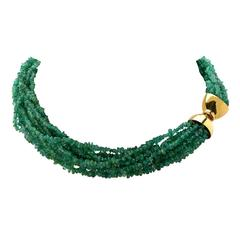 Multistrand Emerald Bead Necklace