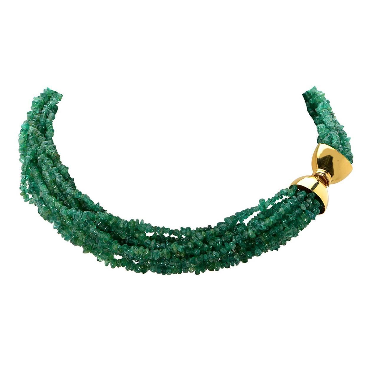multistrand emerald bead necklace for sale at 1stdibs