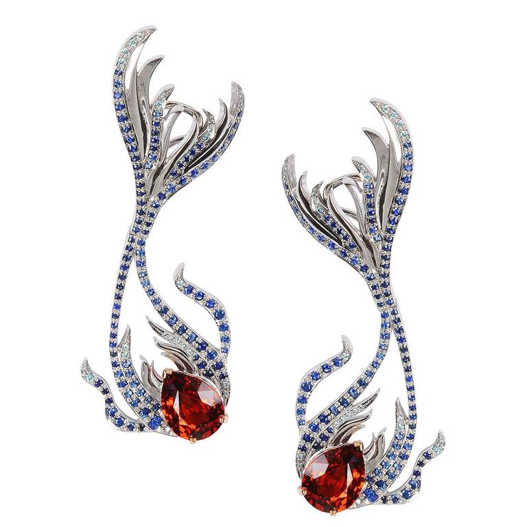 Milena Kovanovic Spessartine Sapphire Diamond Gold Earrings