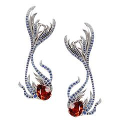 Milena Kovanovic Spessartine Sapphire Diamond Gold Earrings