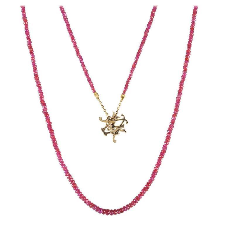 Milena Kovanovic Ruby Gold Bead Reversible Pendant Necklace