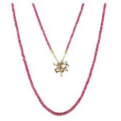 Milena Kovanovic Ruby Gold Bead Reversible Pendant Necklace
