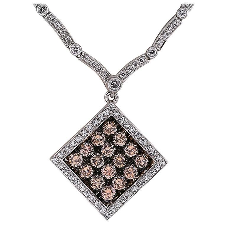 6.97 Carats Fancy Color Diamonds Gold Necklace
