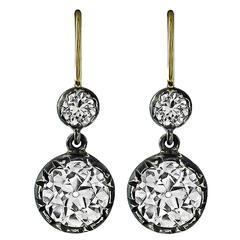 Antique 3.35 Carat Diamond Silver Gold Earrings