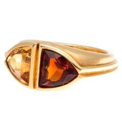 Bulgari Citrine Topaz Gold Two Stone Ring