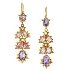 Georgian Foiled Pink and Lavender Gemset Gold Drop Earrings