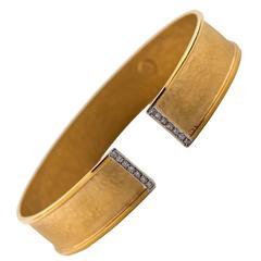 Diamond Gold Hammered and Satin Flex Cuff Bracelet