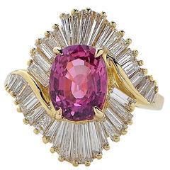 2.62 Carat Pink Sapphire Diamond Gold Ring