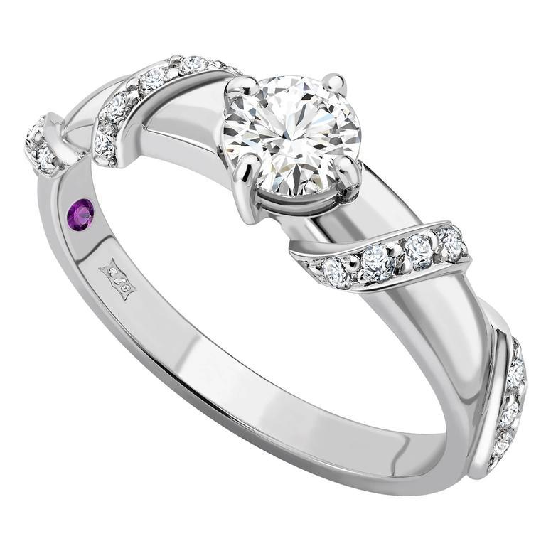 Ana De Costa Platinum Round White Diamond Ribbon Solitaire Engagement Ring
