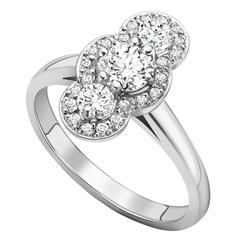 Ana De Costa Platinum Three Round White Diamond Engagement Cluster Ring