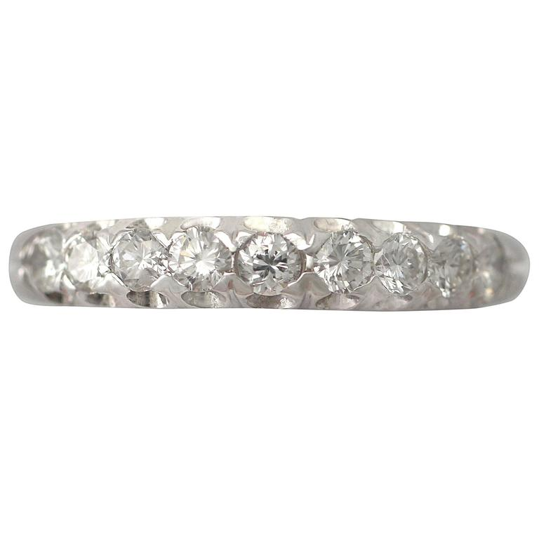 0.36Ct Diamond and 18k White Gold Half Eternity Ring - Vintage Circa 1970