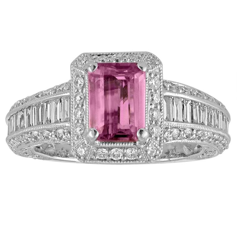 Certified No Heat 1.55 Carat Pink Sapphire Diamond Gold Ring