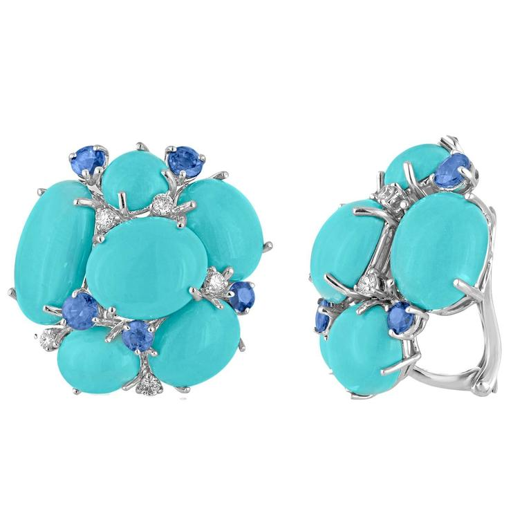 52.60 Carats Turquoise Sapphire Diamond Gold Cluster Clip Earrings