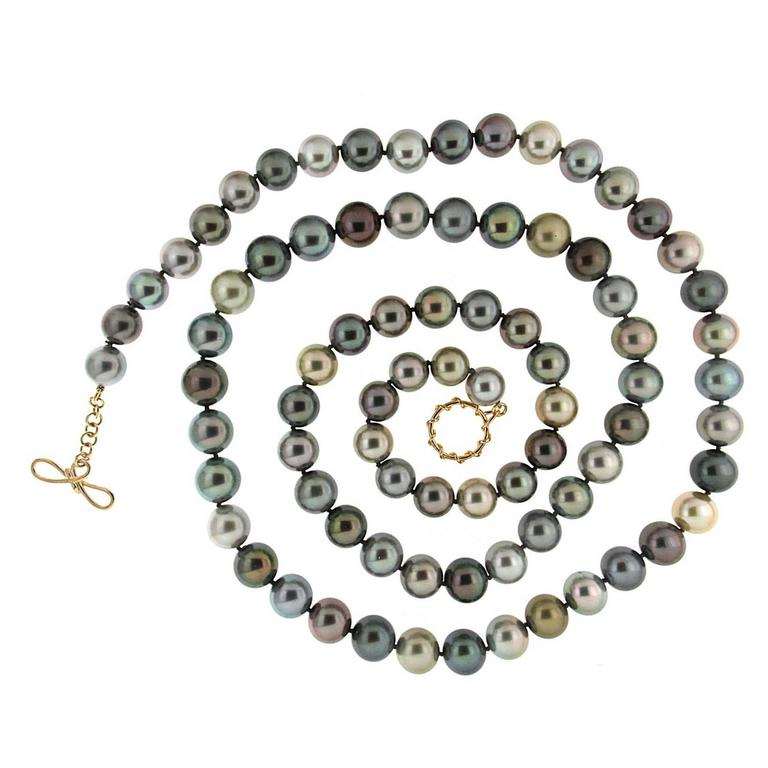 Multicolor Tahitian Pearl Necklace  For Sale