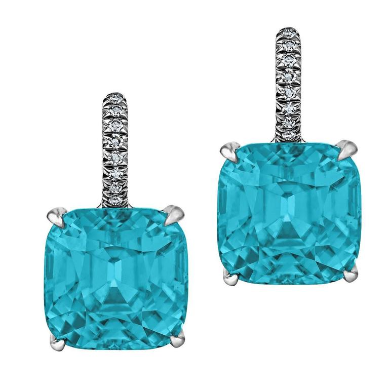 Natural Zircon Diamond Platinum Earrings
