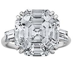 Important French Art Deco 7.72 Carat Asscher Cut Diamond Platinum Ring