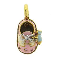Aaron Basha Enamel Pink Sapphire Diamond Gold Fish Charm Shoe Pendant