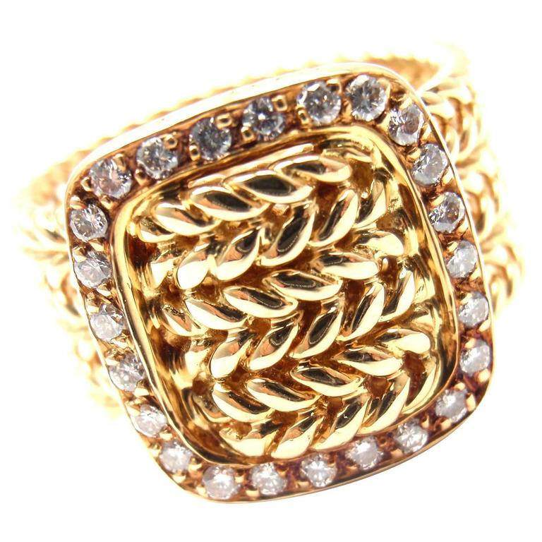 Hermes Diamond Gold Wide Buckle Band Ring