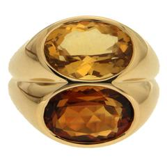 Double Oval Faceted Madeira Citrines Gold Ring