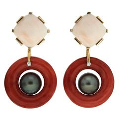 Valentin Magro White Cushion Coral Red Coral Doughnut Tahitian Pearl Earrings