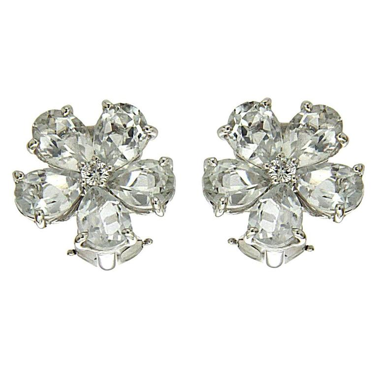 White Topaz Diamond Gold Cluster Earrings 1