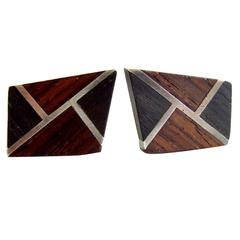 Esther Lewittes Sterling Silver Exotic Wood Cufflinks