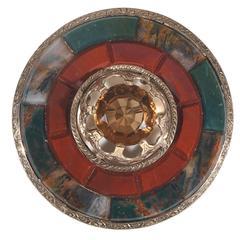Large Citrine Jasper Bloodstone Agate Scottish Brooch Pendant