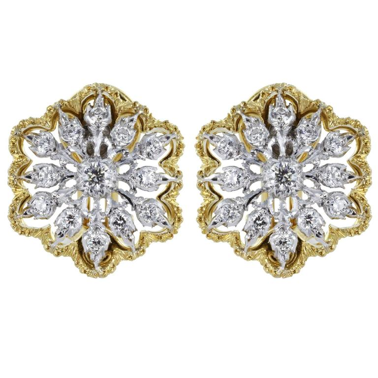 Buccellati Cassiopeia Design Open Work Diamond Two Color Gold Clip Earrings