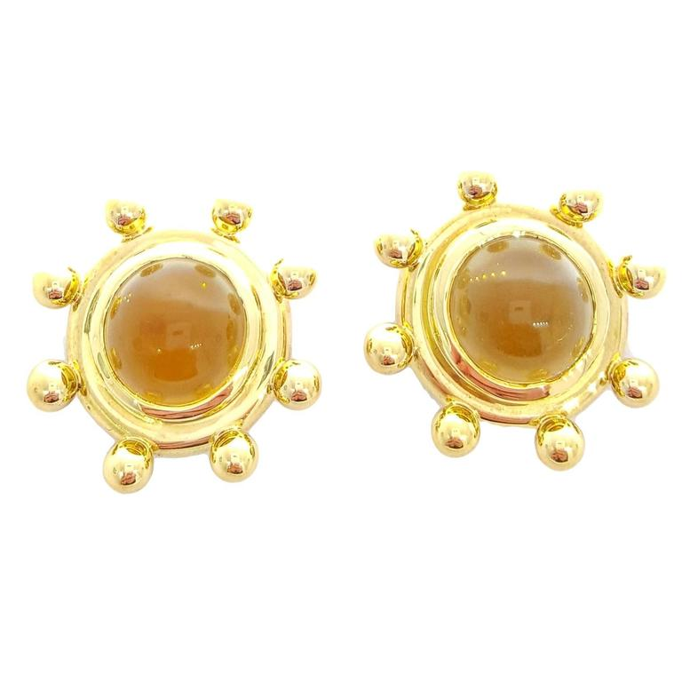 Tiffany & Co. Paloma Picasso Citrine Cabochon Gold Earrings For Sale