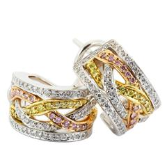 Fancy Color Diamond Three-Color Gold Hoop Earrings