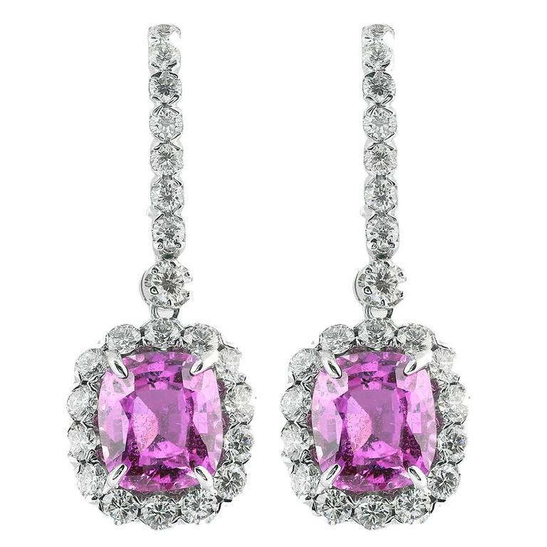 5.09 Carat Pink Sapphire Gold Drop Earrings