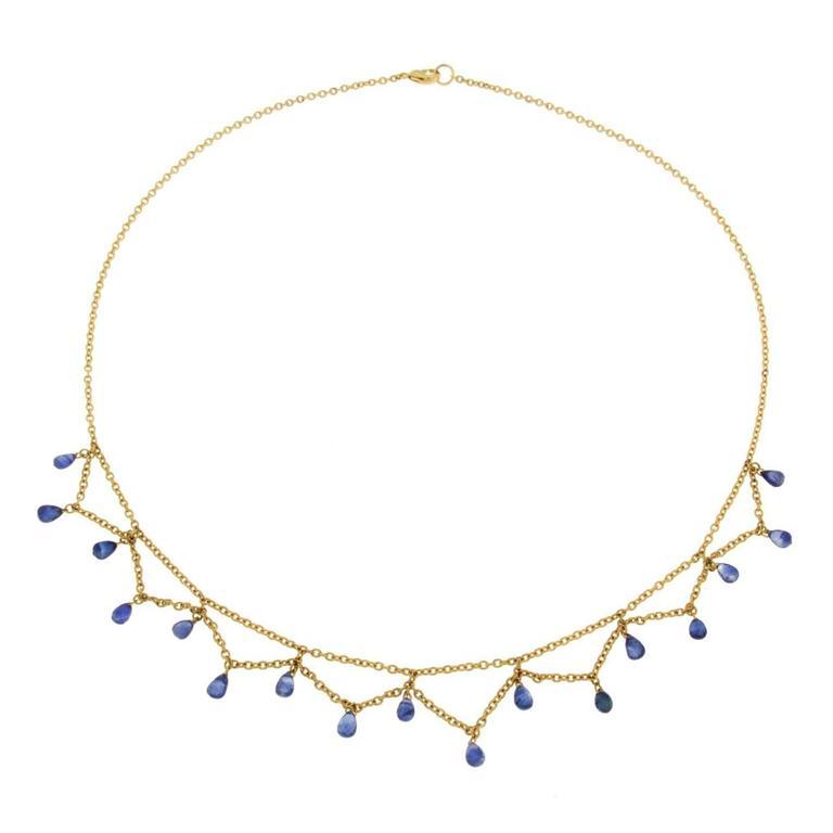 Jona Blue Sapphire 18k Yellow Gold Necklace