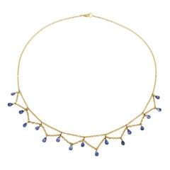 Jona Blue Sapphire 18 Karat Yellow Gold Necklace