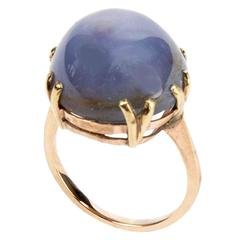Star Sapphire Solitaire Gold Ring