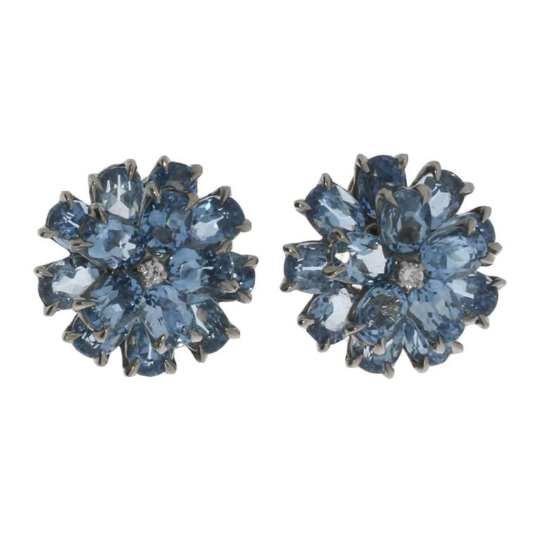 Floral Shape Aquamarine Diamond Gold Stud Earrings For Sale