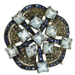 Aquamarine Diamond Silver Gold Flower Shape Brooch Pendant