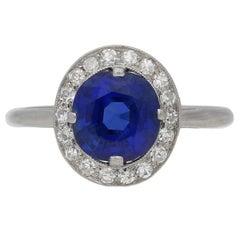 1910s Mappin & Webb Burmese Sapphire Diamond Platinum Coronet Cluster Ring