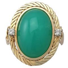 1960s 10.59 Carat Chrysoprase & Diamond Yellow Gold Cocktail Ring