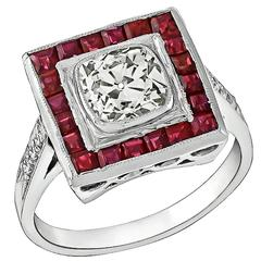 1.15 Carat Old Mine Cushion Cut Diamond Ruby Platinum Engagement Ring