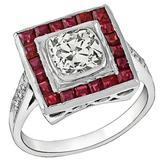 1.15 Carat Old Mine Cushion Cut Diamond Ruby Platinum Engagement Ring