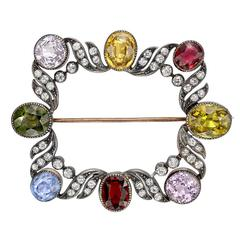 Late Victorian Multicolored Gemstone Diamond Silver Gold Brooch