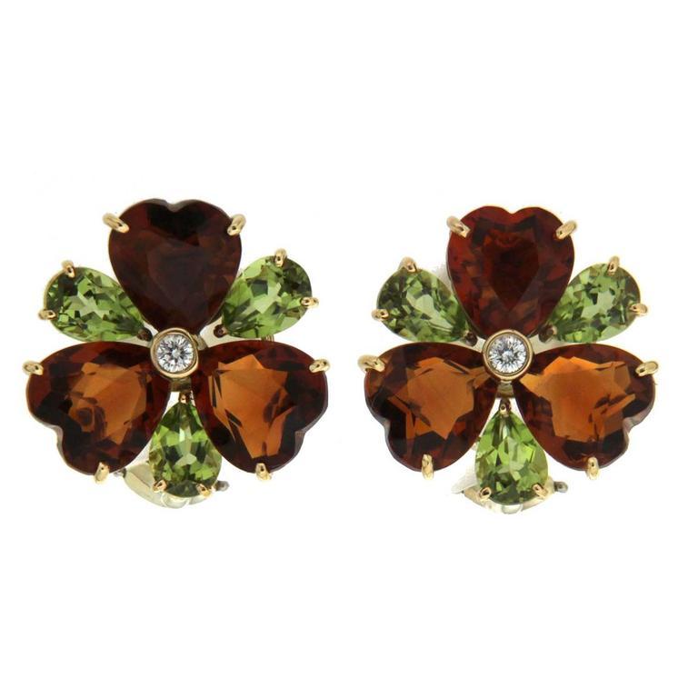 Heart Citrine Peridot Diamond Gold Cluster Earrings