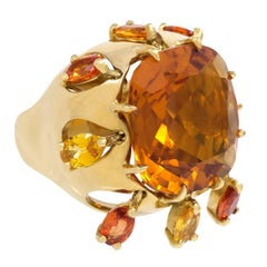 Mid-Century Cushion-Cut Citrine and Gold Cocktail Ring With Articulated Drops