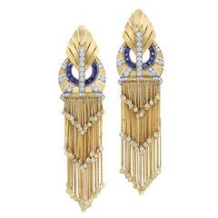 Fred Leighton Sapphire  Diamond Yellow Gold Fringe Earrings
