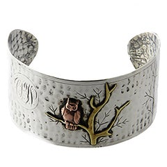 Arts & Crafts Handmade Sterling Silver and Mixed Metal Owl Cuff Bracelet