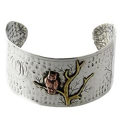 Arts and Crafts Handmade Sterling Silver and Mixed Metal Owl Cuff Bracelet