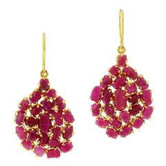 Pippa Small Invisible Collection Ruby Gold Earrings