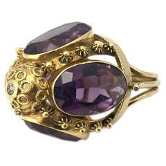 Antique Amethyst Diamond Gold Ring