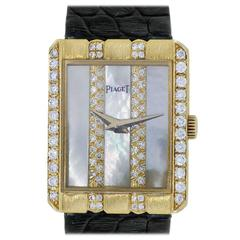 Piaget Lady's Yellow Gold Diamond Mother of Pearl Dial Automatic Wristwatch