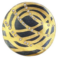 Atelier Zobel Curved Diamond Disc Silver Gold Brooch and Pendant